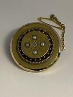 Victorian 15ct Pearl & Diamond Locket Brooch (4 of 6)
