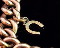 Antique 9ct Gold Curb Bracelet, Edwardian (4 of 9)