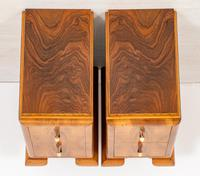 Superb Pair of Walnut Art Deco Bedside Cabinets (5 of 6)