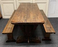 Rustic Oak Farmhouse Table & Bench Set
