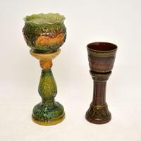 Pair of Antique Majolica Porcelain Plant Stands (5 of 12)