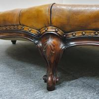 Deep Buttoned Leather Rosewood Stool (2 of 8)
