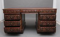 19th Century Carved Oak Partners Desk (5 of 17)