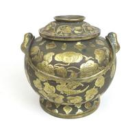 Gilt Metal Temple Incense Lidded Pot