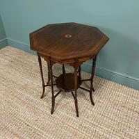 Striking Figured Rosewood Victorian Inlaid Antique Occasional Table (6 of 7)