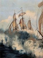 Large Fabulous Vintage 20th Century Maritime Naval Battle Ships Seascape Oil Painting (9 of 12)