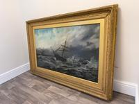 Huge 19th Century Seascape Oil Painting Sinking Ship Signalling Rescuers by Henry E Tozer (48 of 58)