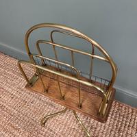 Antique Edwardian Brass & Oak Revolving Book Stand (5 of 5)