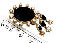 1.40ct Diamond & Onyx, 14ct Yellow Gold Drop Earrings - Art Deco Style - Vintage c.1950 (7 of 9)