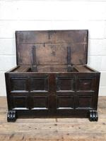 Antique Rare 17th Century Oak Coffer with Block Paw Feet (M-716) (8 of 16)
