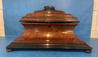 Victorian Burr Cedar & Ebony Shaped Tea Caddy (2 of 20)