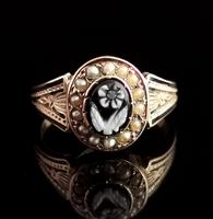 Antique Victorian Mourning Ring, 15ct Gold, Black Enamel & Seed Pearl, Agate Forget me Not (7 of 13)