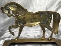 Antique English Victorian Graceful Equestrian Horse Brass Door Stop (20 of 25)