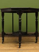 Antique Edwardian Black Painted Occasional Table, Lamp Table, Gothic Shabby Chic (7 of 13)