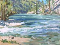 Original Oil Painting on Canvas 'Pistol Creek' by Douglas Ettridge 1927-2009. Signed & Insrcibed c.1970