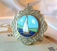 Vintage Pocket Watch Chain Fob 1940s Golden Gilt & Coloured Enamel Sailing Boat Fob (3 of 6)