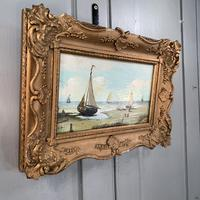Antique coastal seascape oil painting of fishing boats signed YT (2 of 9)