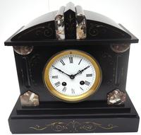 Fine Antique French Slate Mantel Clock - Bell Striking 8-day Mantle Clock c.1900 (8 of 12)
