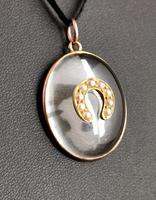 Antique Victorian Rock Crystal Pendant Gold Horseshoe, Split Pearl (8 of 14)