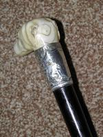 Edwardian J.Howell Hallmarked 1902 Silver Lurcher Dogs Head Walking Stick / Cane (3 of 14)