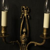 French Set of 4 Gilded Twin Arm Wall Lights (3 of 10)