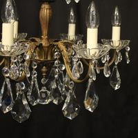 French Gilded 6 Light Chandelier c.1930 (3 of 10)