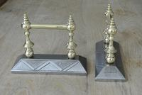 Quality Pair of  Victorian Aesthetic Movement Cast Iron & Brass Fire Dogs Fire Iron Rests Andirons c.1880 (2 of 8)