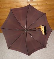 Antique English Made Brown Silk Canopy Umbrella & Hand Carved Horse Head Handle (3 of 14)