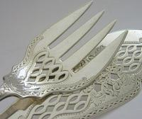 Antique Victorian English Solid Silver Fish Serving Set 1895/1896 Antique (2 of 8)