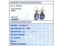 9.58ct Amethyst & 15ct Yellow Gold Drop Earrings - Antique c.1890 (8 of 9)