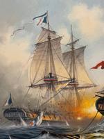 "Seascape Oil Painting Naval Frigate Ships Napoleonic War Sea ""Battle Trafalgar"" (19 of 25)"