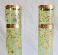 Antique Pair Moser Karlsbad Tall Green Glass Vases (3 of 10)