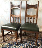 Pair of Arts & Crafts Oak Upholstered Hall Chairs