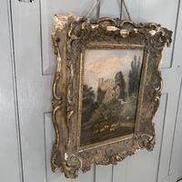 Antique Victorian landscape oil painting study of a ruin with sheep (4 of 10)