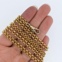 """Antique Victorian Long 18ct Rolled Gold Guard Muff Chain Necklace 54"""" Length (7 of 7)"""