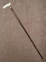"Antique 1902 Repousse 18CT GP Walking Stick/Cane W/Bovine Bone Derby Handle ""Glasgow"" (9 of 11)"