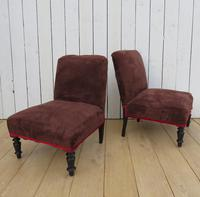 Pair of Antique Chauffeuse Slipper Chairs for re-upholstery