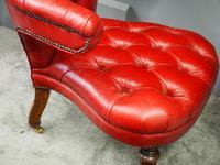 Victorian Oak & Crimson Leather Cockfighting Chair (4 of 10)