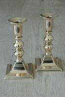 Pair of English Georgian Red Brass Candlesticks c.1810-1820 (6 of 6)