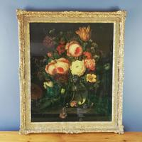 19th Century Victorian Reverse Glass painting Still Life of Floral design (2 of 8)