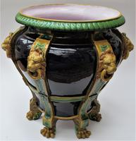 Very large Minton majolica jardiniere, 1881, with lion's head strapwork handles (7 of 12)