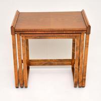 Original Art Deco Figured Walnut Nest of Tables (6 of 11)