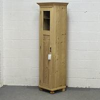 Tall Slim Partly Glazed Old Pine Cupboard (3 of 5)