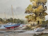 Superb Quality 20th Century Vintage Boats Estuary Seascape Watercolour Painting (7 of 11)