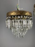 Pair of French 1930s Flush Ceiling Crystal & Brass Ceiling Lights, Rewired (2 of 9)