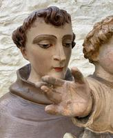 Exceptional Early 1900's Signed 39'' Carved Sculpture Statue St Anthony & Jesus (12 of 18)