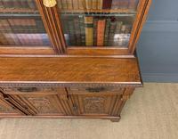 Victorian Carved Oak 3 Door Bookcase (15 of 23)