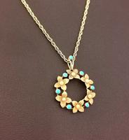 Antique Art Nouveau 15ct Gold Floral Pendant, Pearl & Turquoise, 9ct Gold Necklace (6 of 12)