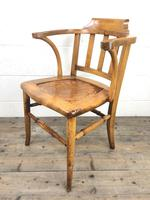 Early 20th Century Beech Smoker's Chair with Pokerwork Seat (M-1591) (8 of 8)