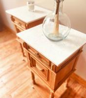 French Antique Oak Bedside Tables / Marble Bedside Cabinets / Nightstands (3 of 6)